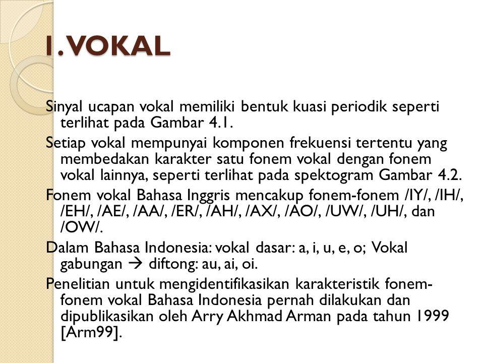 1. VOKAL Sinyal ucapan vokal memiliki bentuk kuasi periodik seperti terlihat pada Gambar 4.1. Setiap vokal mempunyai komponen frekuensi tertentu yang