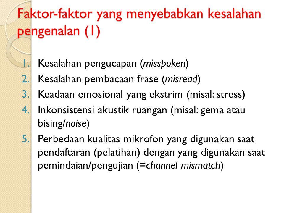 Faktor-faktor yang menyebabkan kesalahan pengenalan (1) 1.Kesalahan pengucapan (misspoken) 2.Kesalahan pembacaan frase (misread) 3.Keadaan emosional y