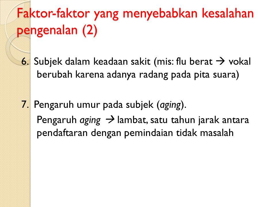 Faktor-faktor yang menyebabkan kesalahan pengenalan (2) 6. Subjek dalam keadaan sakit (mis: flu berat  vokal berubah karena adanya radang pada pita s