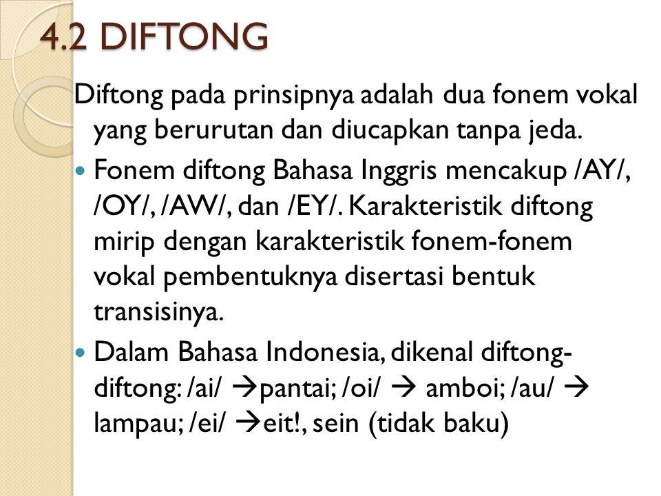 4.2 DIFTONG Diftong pada prinsipnya adalah dua fonem vokal yang berurutan dan diucapkan tanpa jeda. Fonem diftong Bahasa Inggris mencakup /AY/, /OY/,