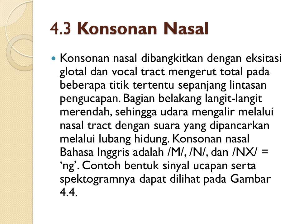 4.3 Konsonan Nasal Konsonan nasal dibangkitkan dengan eksitasi glotal dan vocal tract mengerut total pada beberapa titik tertentu sepanjang lintasan p
