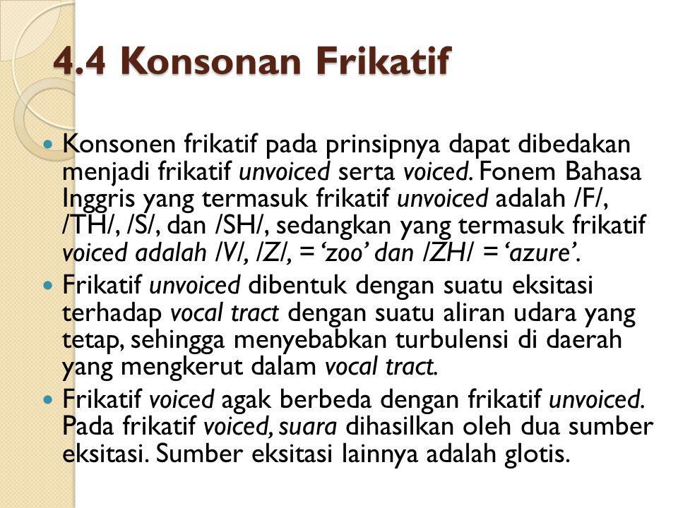Konsonen frikatif pada prinsipnya dapat dibedakan menjadi frikatif unvoiced serta voiced. Fonem Bahasa Inggris yang termasuk frikatif unvoiced adalah