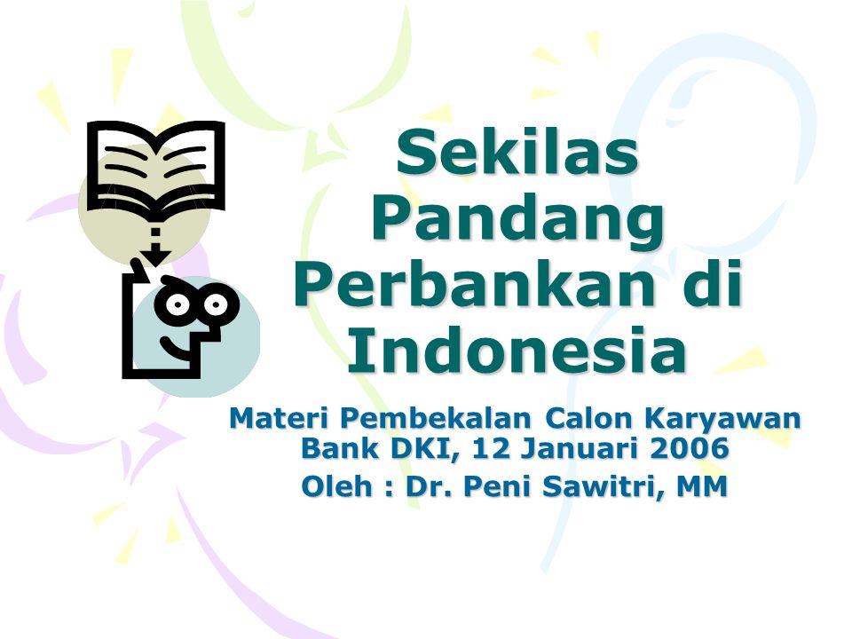 Sekilas Pandang Perbankan di Indonesia Materi Pembekalan Calon Karyawan Bank DKI, 12 Januari 2006 Oleh : Dr. Peni Sawitri, MM