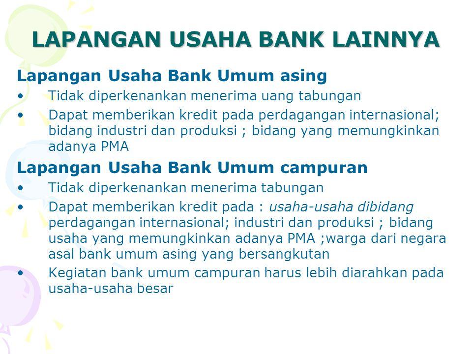 LAPANGAN USAHA BANK LAINNYA Lapangan Usaha Bank Umum asing Tidak diperkenankan menerima uang tabungan Dapat memberikan kredit pada perdagangan interna