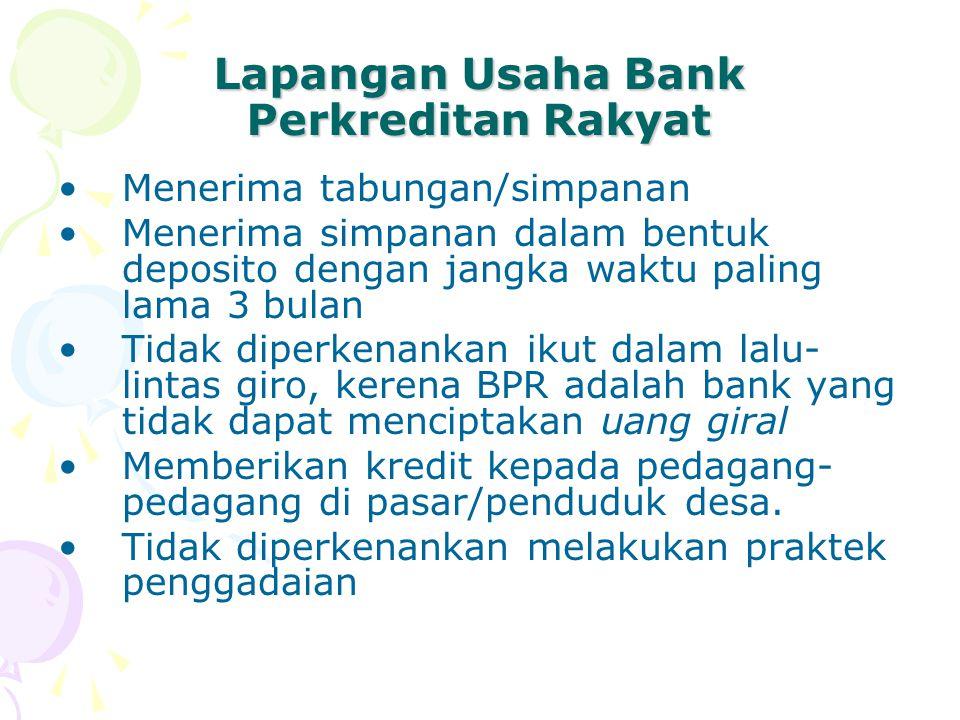 Lapangan Usaha Bank Perkreditan Rakyat Menerima tabungan/simpanan Menerima simpanan dalam bentuk deposito dengan jangka waktu paling lama 3 bulan Tida
