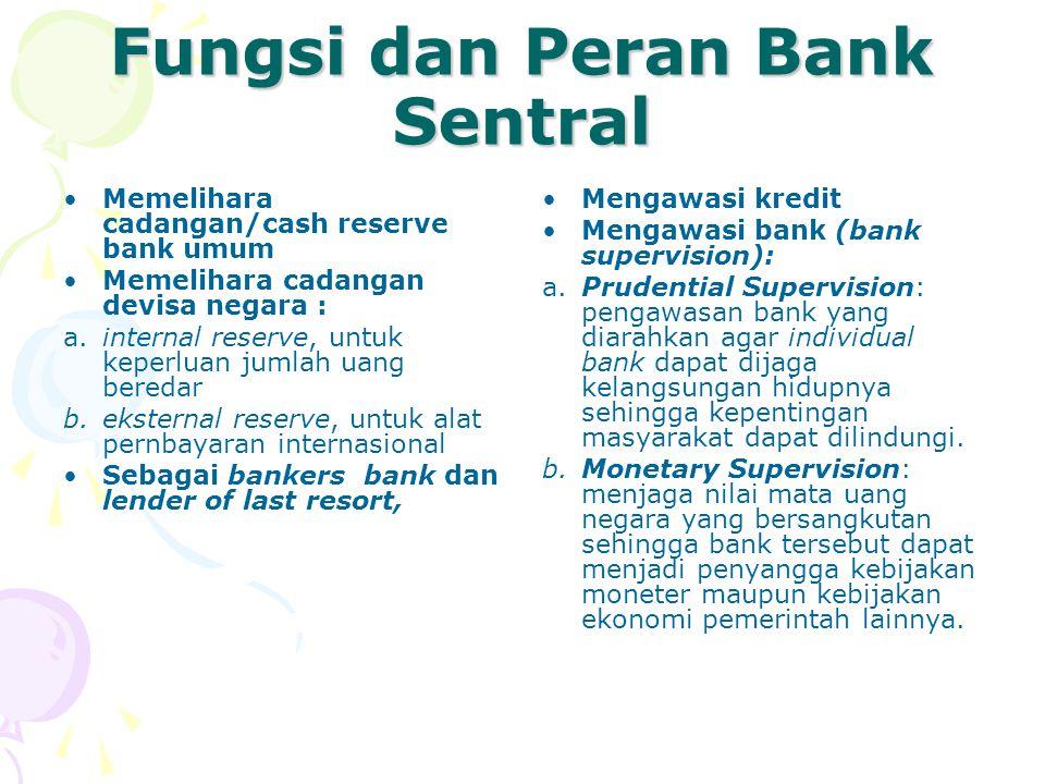 Fungsi dan Peran Bank Sentral Memelihara cadangan/cash reserve bank umum Memelihara cadangan devisa negara : a.internal reserve, untuk keperluan jumla