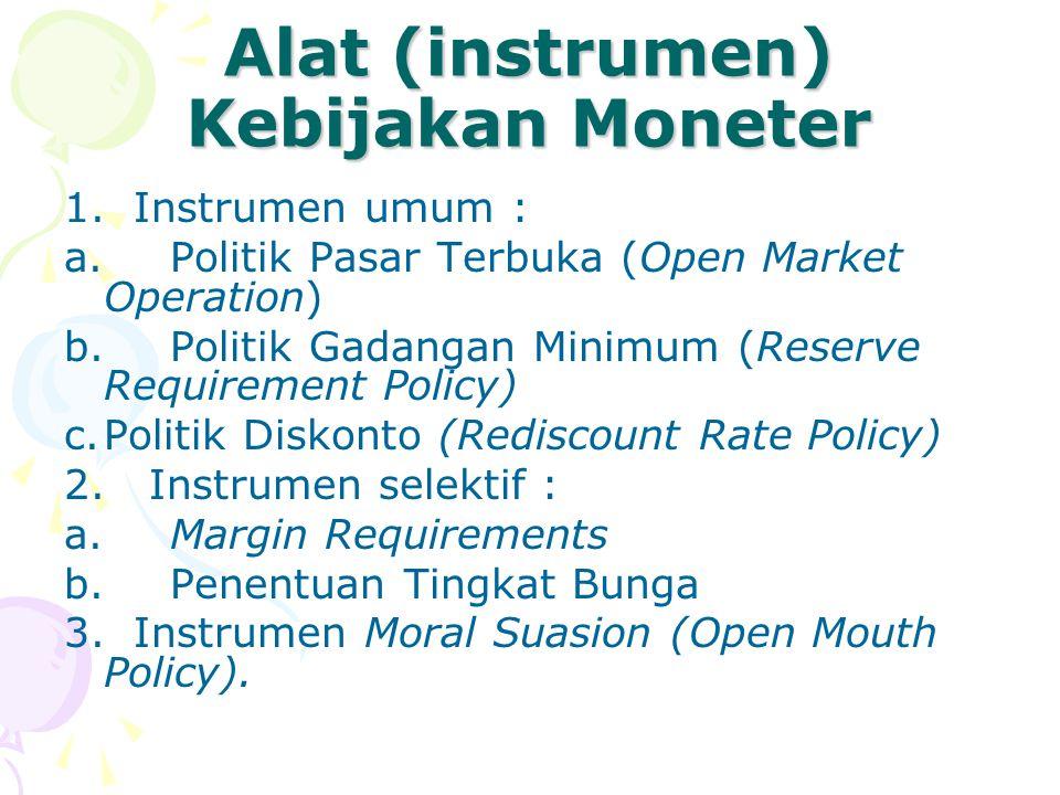 Alat (instrumen) Kebijakan Moneter 1. Instrumen umum : a.Politik Pasar Terbuka (Open Market Operation) b.Politik Gadangan Minimum (Reserve Requiremen