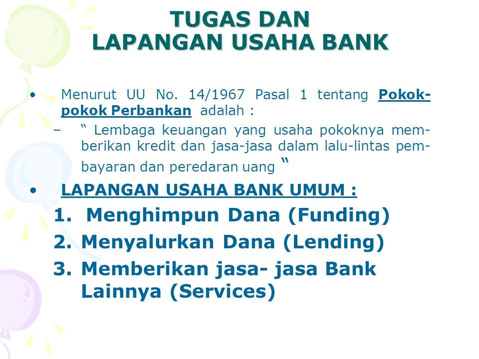 "TUGAS DAN LAPANGAN USAHA BANK Menurut UU No. 14/1967 Pasal 1 tentang Pokok- pokok Perbankan adalah : –"" Lembaga keuangan yang usaha pokoknya mem- beri"