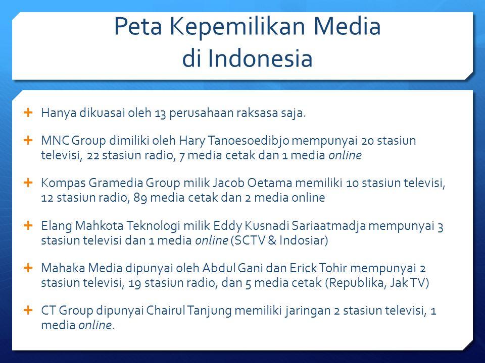 Peta Kepemilikan Media di Indonesia  Hanya dikuasai oleh 13 perusahaan raksasa saja.