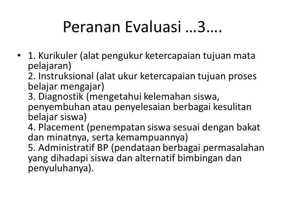 Peranan Evaluasi …3…. 1. Kurikuler (alat pengukur ketercapaian tujuan mata pelajaran) 2. Instruksional (alat ukur ketercapaian tujuan proses belajar m