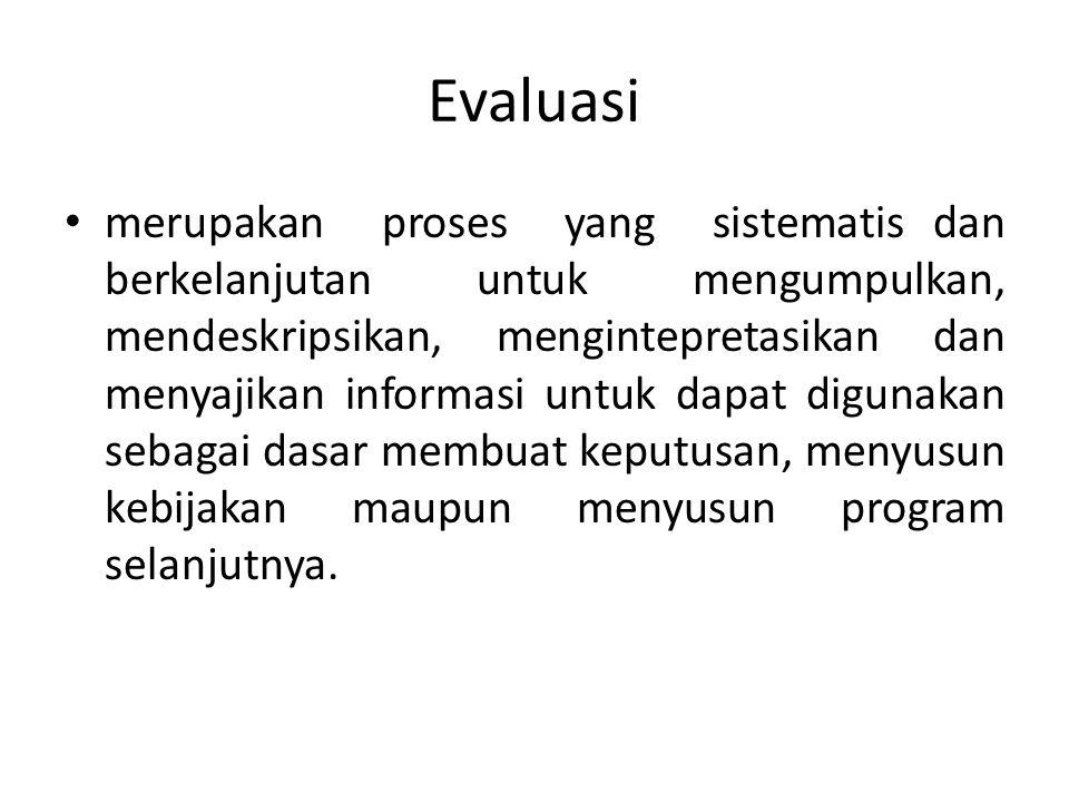 Evaluasi merupakan proses yang sistematis dan berkelanjutan untuk mengumpulkan, mendeskripsikan, mengintepretasikan dan menyajikan informasi untuk dap
