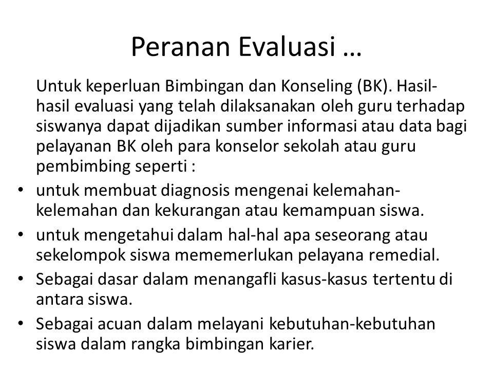 Peranan Evaluasi … Untuk keperluan Bimbingan dan Konseling (BK). Hasil- hasil evaluasi yang telah dilaksanakan oleh guru terhadap siswanya dapat dijad