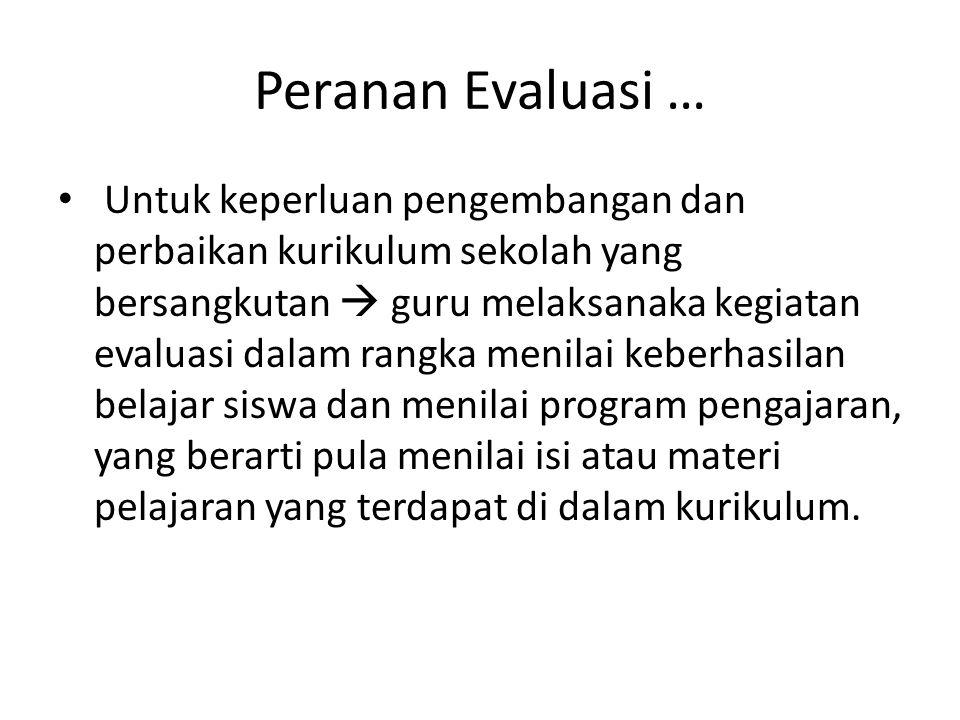 Peranan Evaluasi …3….1. Kurikuler (alat pengukur ketercapaian tujuan mata pelajaran) 2.