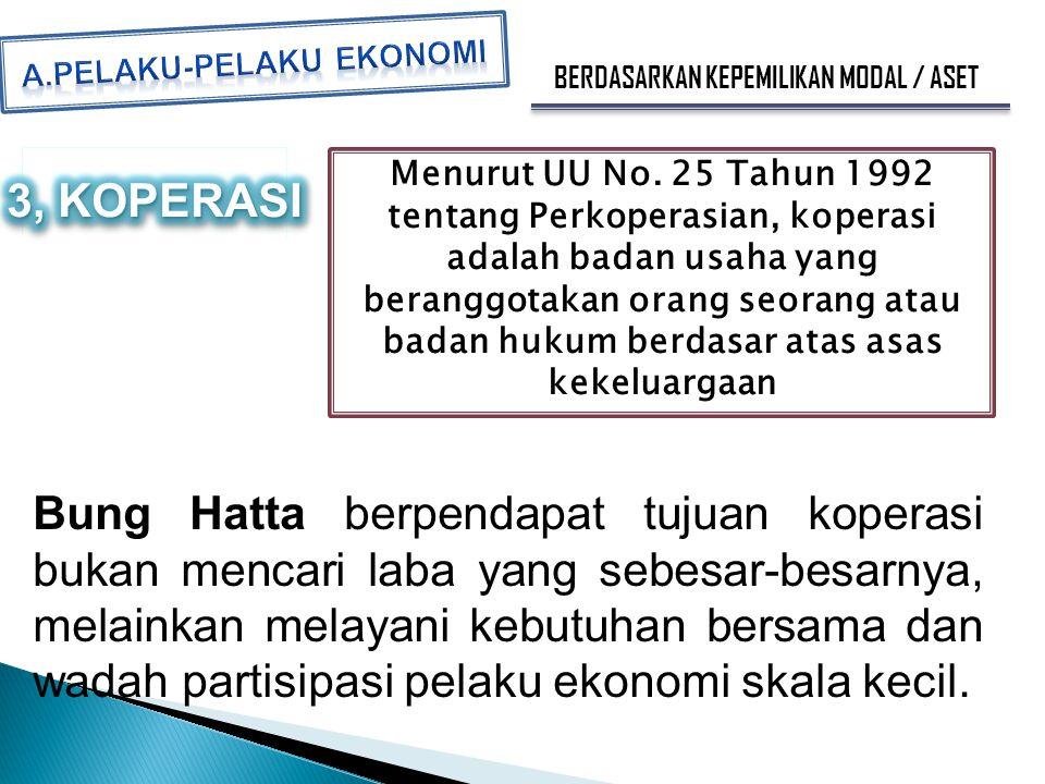 BERDASARKAN KEPEMILIKAN MODAL / ASET Menurut UU No. 25 Tahun 1992 tentang Perkoperasian, koperasi adalah badan usaha yang beranggotakan orang seorang
