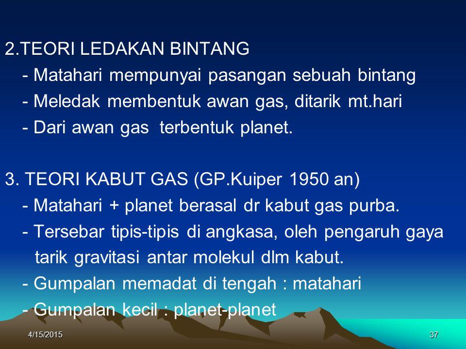 4/15/201537 2.TEORI LEDAKAN BINTANG - Matahari mempunyai pasangan sebuah bintang - Meledak membentuk awan gas, ditarik mt.hari - Dari awan gas terbentuk planet.