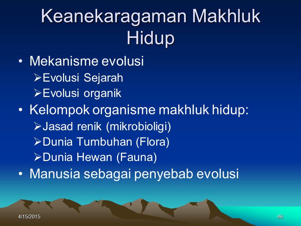 4/15/201546 Keanekaragaman Makhluk Hidup Mekanisme evolusi  Evolusi Sejarah  Evolusi organik Kelompok organisme makhluk hidup:  Jasad renik (mikrobioligi)  Dunia Tumbuhan (Flora)  Dunia Hewan (Fauna) Manusia sebagai penyebab evolusi