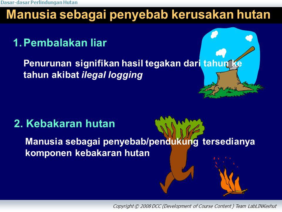 Dasar-dasar Perlindungan Hutan Copyright © 2008 DCC (Development of Course Content ) Team LabLINKeshut Manusia sebagai penyebab kerusakan hutan 1.Pembalakan liar Penurunan signifikan hasil tegakan dari tahun ke tahun akibat ilegal logging 2.