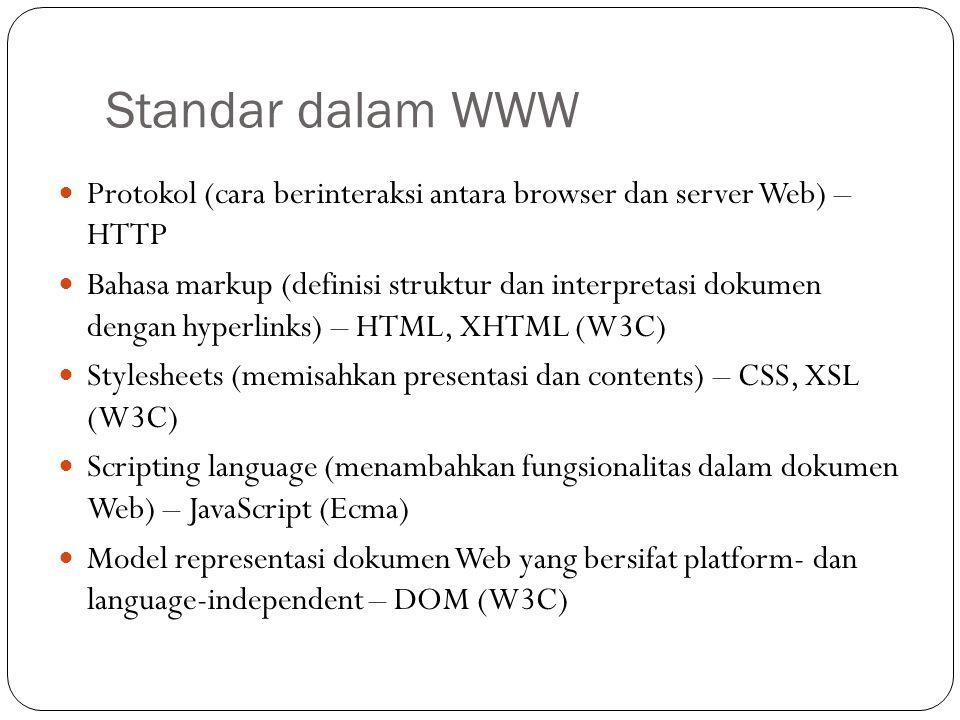 Standar dalam WWW Protokol (cara berinteraksi antara browser dan server Web) – HTTP Bahasa markup (definisi struktur dan interpretasi dokumen dengan h