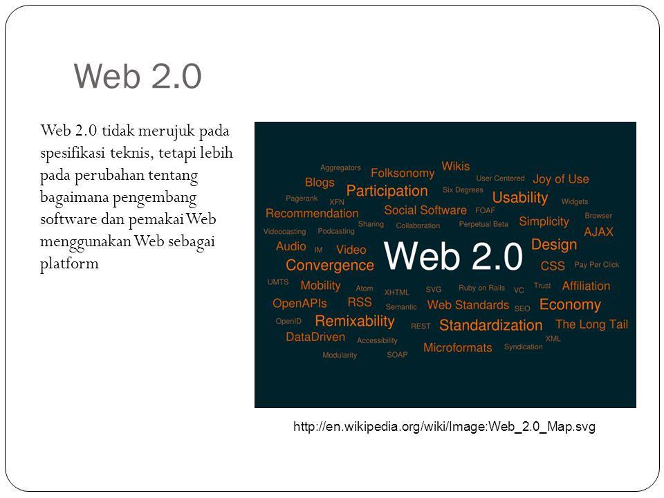Web 2.0 Web 2.0 tidak merujuk pada spesifikasi teknis, tetapi lebih pada perubahan tentang bagaimana pengembang software dan pemakai Web menggunakan W