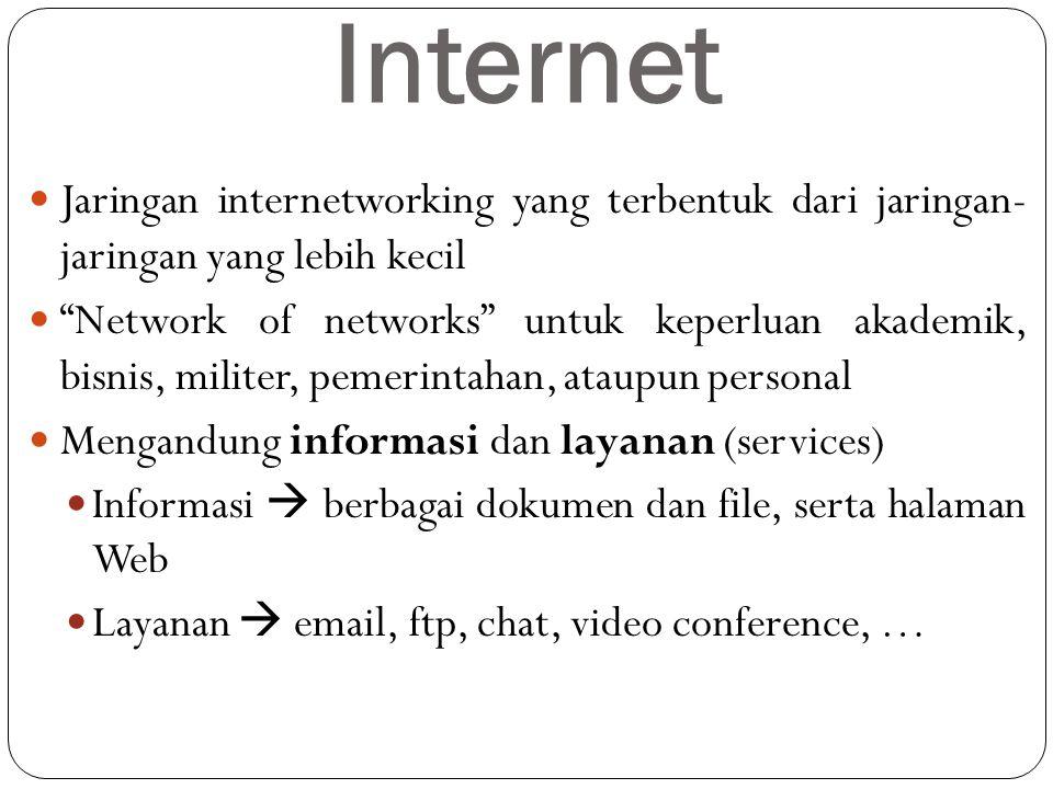 """Internet Jaringan internetworking yang terbentuk dari jaringan- jaringan yang lebih kecil """"Network of networks"""" untuk keperluan akademik, bisnis, mili"""