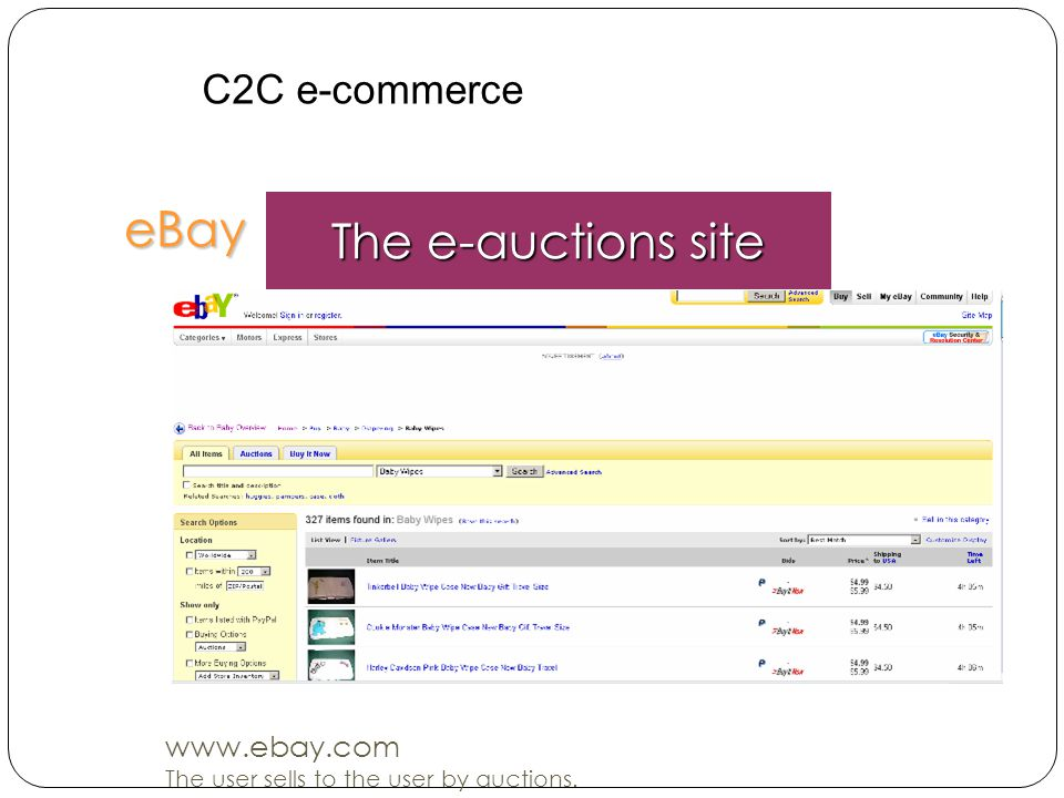 eBay The e-auctions site www.ebay.com The user sells to the user by auctions. C2C e-commerce