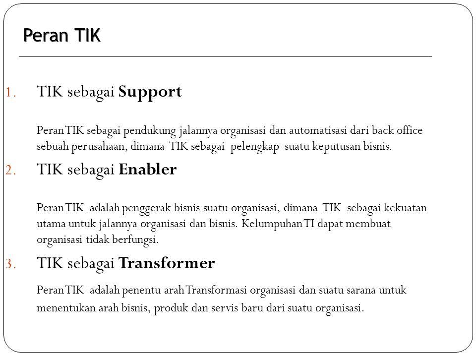 1. TIK sebagai Support Peran TIK sebagai pendukung jalannya organisasi dan automatisasi dari back office sebuah perusahaan, dimana TIK sebagai pelengk