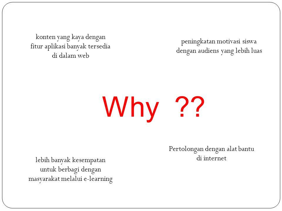 Why ?? konten yang kaya dengan fitur aplikasi banyak tersedia di dalam web peningkatan motivasi siswa dengan audiens yang lebih luas lebih banyak kese