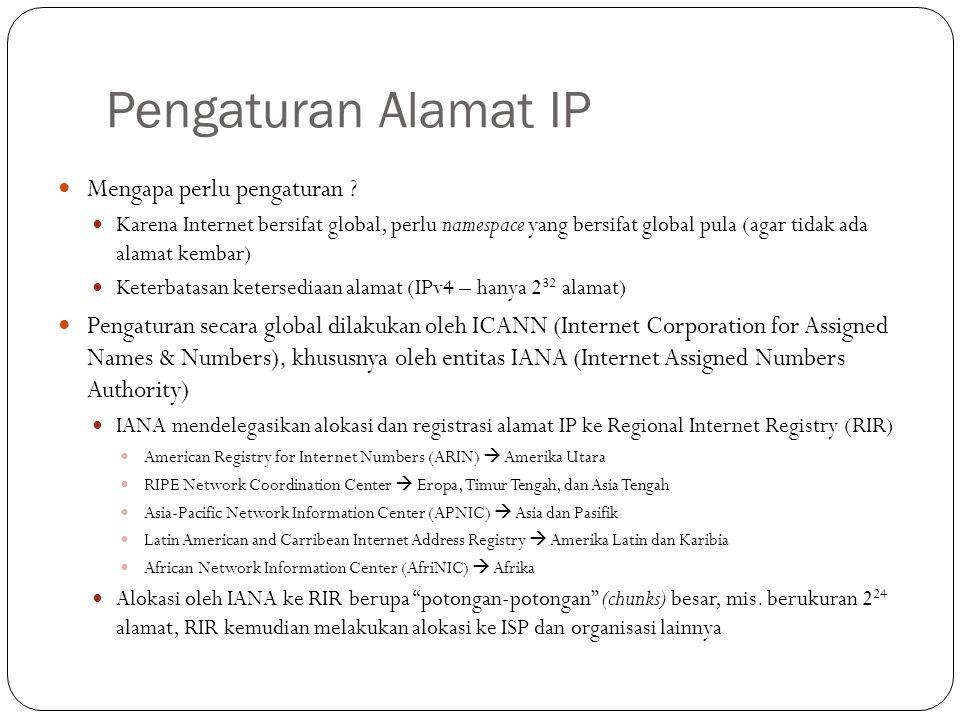 Pengaturan Nama Domain Nama domain untuk memudahkan mengingat alamat IP Nama domain menuruti suatu struktur hirarkis Top level domain sebagai root Generic TLD (gTLD): com, edu, mil, gov, … Country Code TLD (ccTLD): us, au, jp, id, my, sg,...