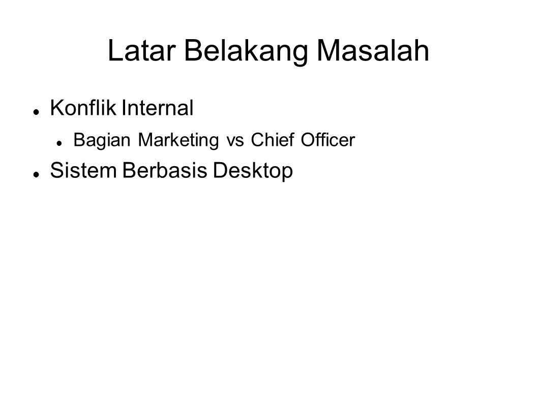 Latar Belakang Masalah Konflik Internal Bagian Marketing vs Chief Officer Sistem Berbasis Desktop