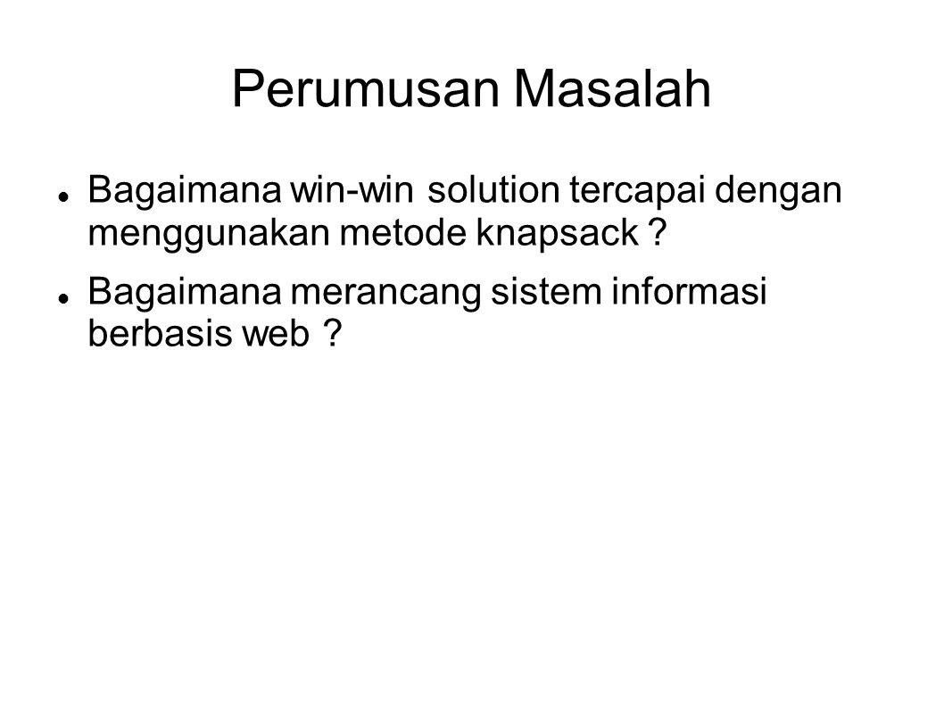 Perumusan Masalah Bagaimana win-win solution tercapai dengan menggunakan metode knapsack ? Bagaimana merancang sistem informasi berbasis web ?