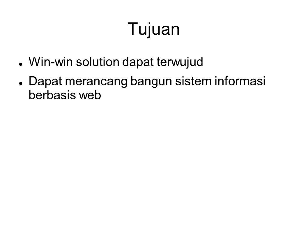 Tujuan Win-win solution dapat terwujud Dapat merancang bangun sistem informasi berbasis web
