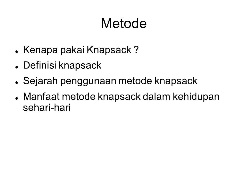 Metode Kenapa pakai Knapsack ? Definisi knapsack Sejarah penggunaan metode knapsack Manfaat metode knapsack dalam kehidupan sehari-hari