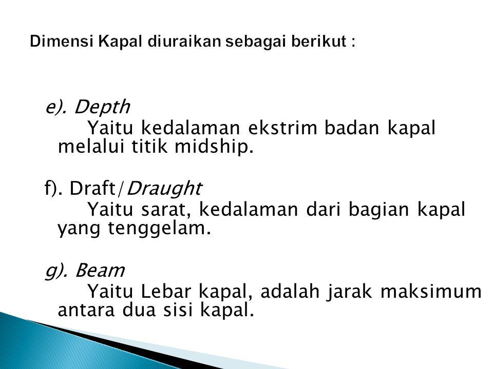 e). Depth Yaitu kedalaman ekstrim badan kapal melalui titik midship. f). Draft/Draught Yaitu sarat, kedalaman dari bagian kapal yang tenggelam. g). Be