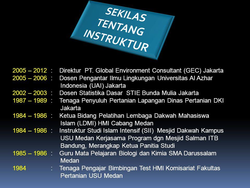 2005 – 2012 : Direktur PT. Global Environment Consultant (GEC) Jakarta 2005 – 2006 : Dosen Pengantar Ilmu Lingkungan Universitas Al Azhar Indonesia (U
