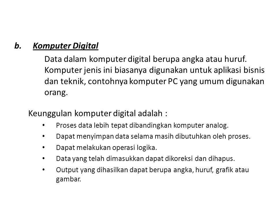 b.Komputer Digital Data dalam komputer digital berupa angka atau huruf. Komputer jenis ini biasanya digunakan untuk aplikasi bisnis dan teknik, contoh
