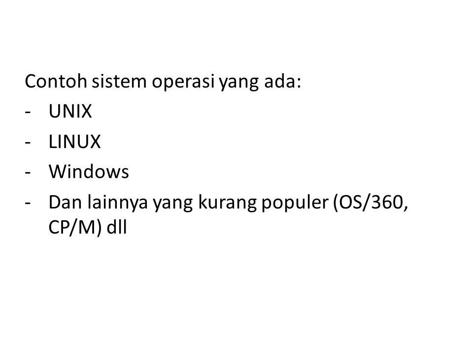 Contoh sistem operasi yang ada: -UNIX -LINUX -Windows -Dan lainnya yang kurang populer (OS/360, CP/M) dll
