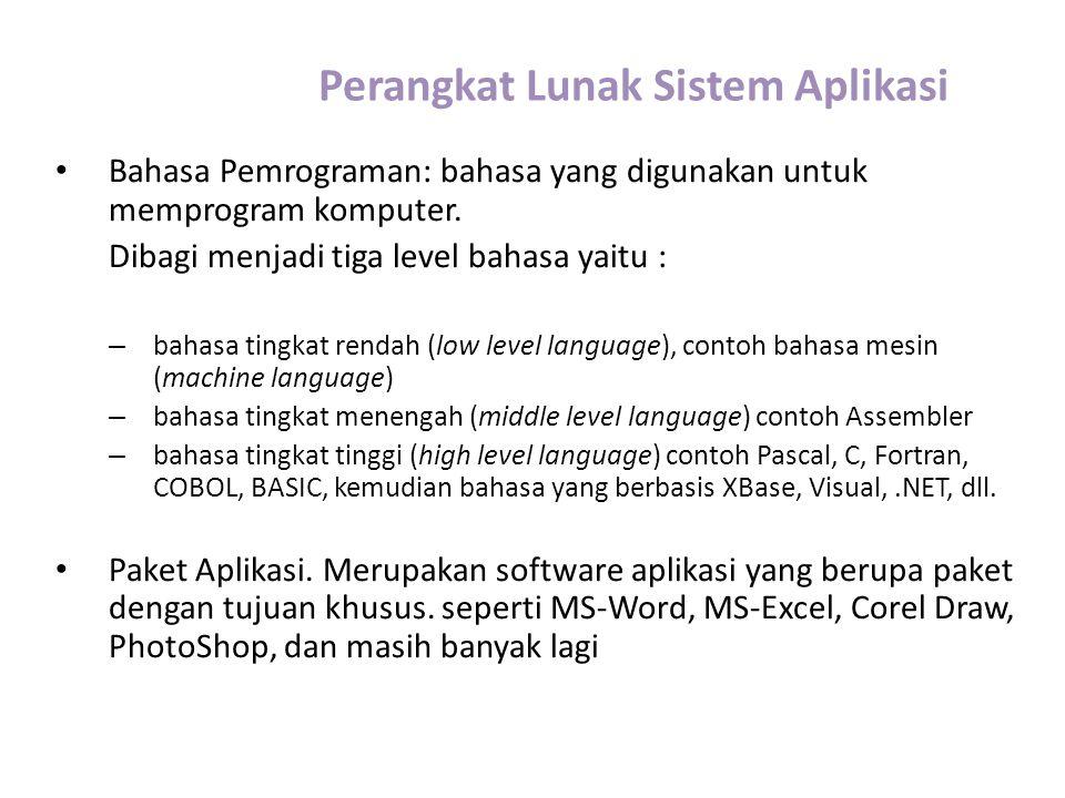 Perangkat Lunak Sistem Aplikasi Bahasa Pemrograman: bahasa yang digunakan untuk memprogram komputer. Dibagi menjadi tiga level bahasa yaitu : – bahasa