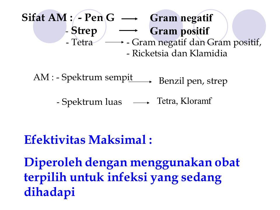 Sifat AM : - Pen G Gram negatif Gram positif - Strep - Tetra - Gram negatif dan Gram positif, - Ricketsia dan Klamidia AM : - Spektrum sempit Benzil p