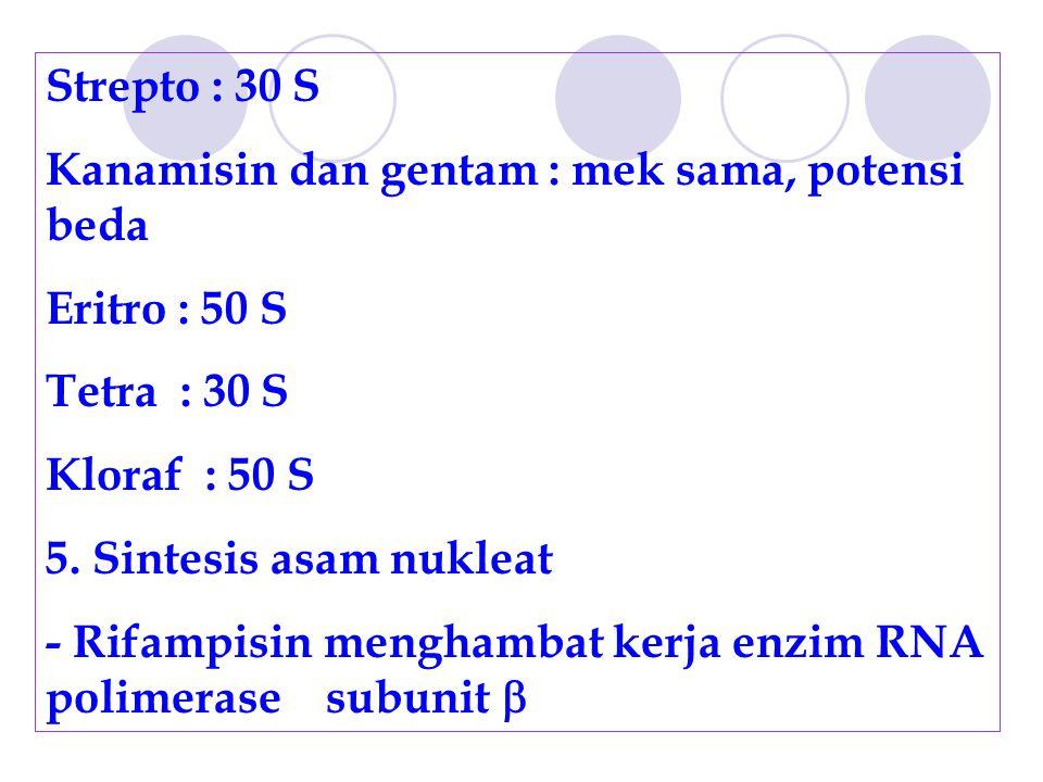Strepto : 30 S Kanamisin dan gentam : mek sama, potensi beda Eritro : 50 S Tetra : 30 S Kloraf : 50 S 5. Sintesis asam nukleat - Rifampisin menghambat