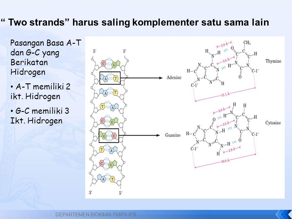 Pasangan Basa A-T dan G-C yang Berikatan Hidrogen A-T memiliki 2 ikt.