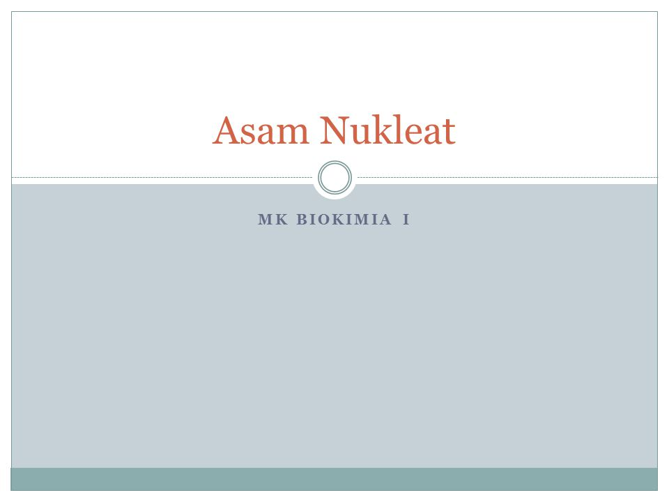MK BIOKIMIA I Asam Nukleat