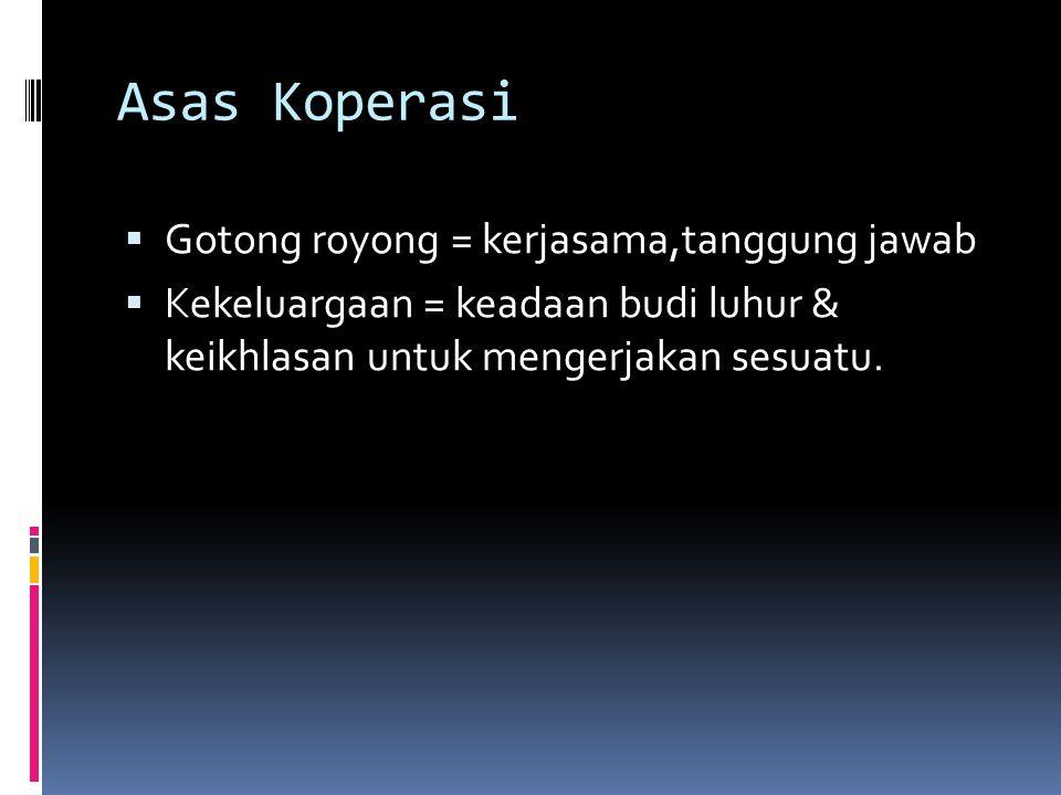Asas Koperasi  Gotong royong = kerjasama,tanggung jawab  Kekeluargaan = keadaan budi luhur & keikhlasan untuk mengerjakan sesuatu.
