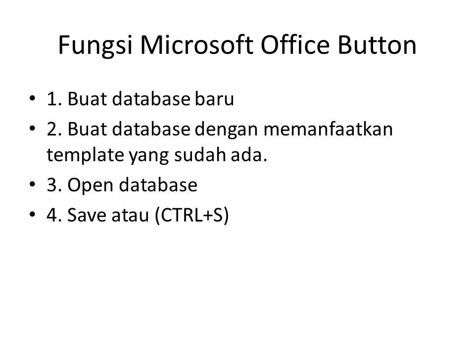Fungsi Microsoft Office Button 1. Buat database baru 2.
