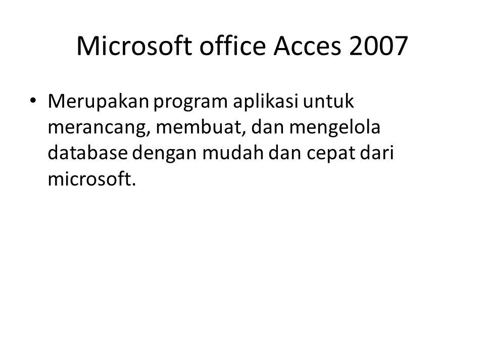 Microsoft office Acces 2007 Merupakan program aplikasi untuk merancang, membuat, dan mengelola database dengan mudah dan cepat dari microsoft.