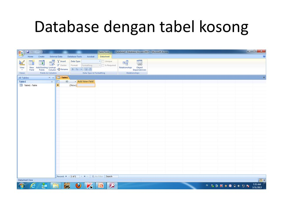 Database dengan tabel kosong