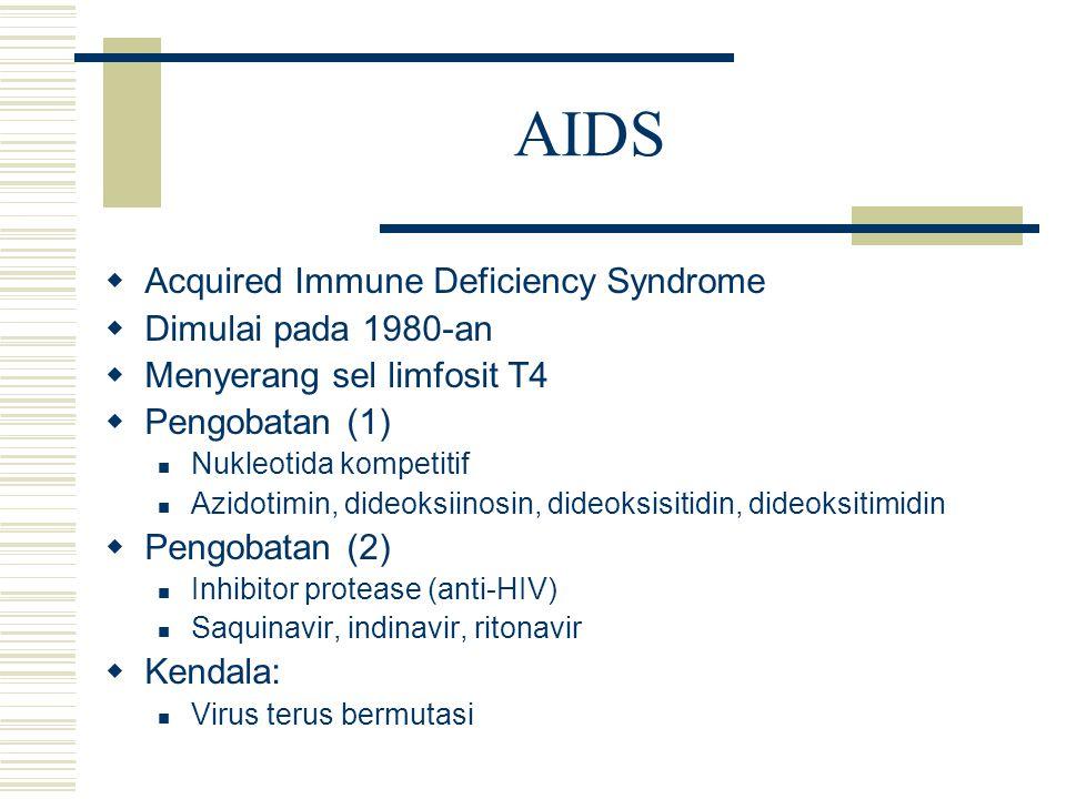 AIDS  Acquired Immune Deficiency Syndrome  Dimulai pada 1980-an  Menyerang sel limfosit T4  Pengobatan (1) Nukleotida kompetitif Azidotimin, dideo