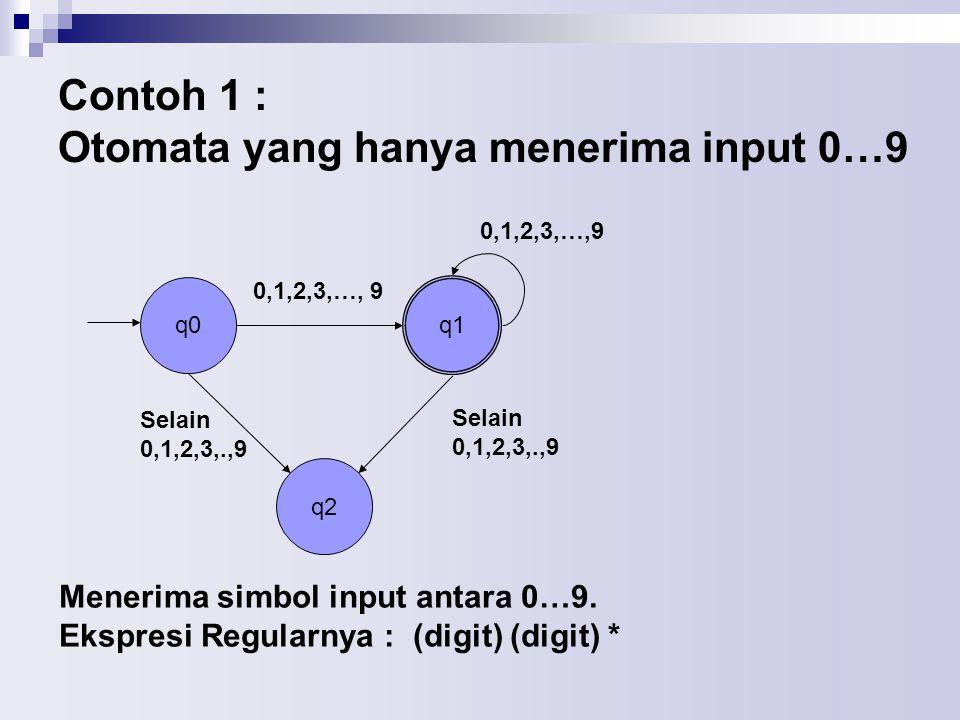 Contoh 1 : Otomata yang hanya menerima input 0…9 q0 q2 q1 0,1,2,3,…, 9 Selain 0,1,2,3,.,9 Selain 0,1,2,3,.,9 Menerima simbol input antara 0…9.