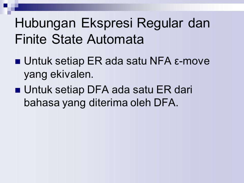 Hubungan Ekspresi Regular dan Finite State Automata Untuk setiap ER ada satu NFA ε-move yang ekivalen.