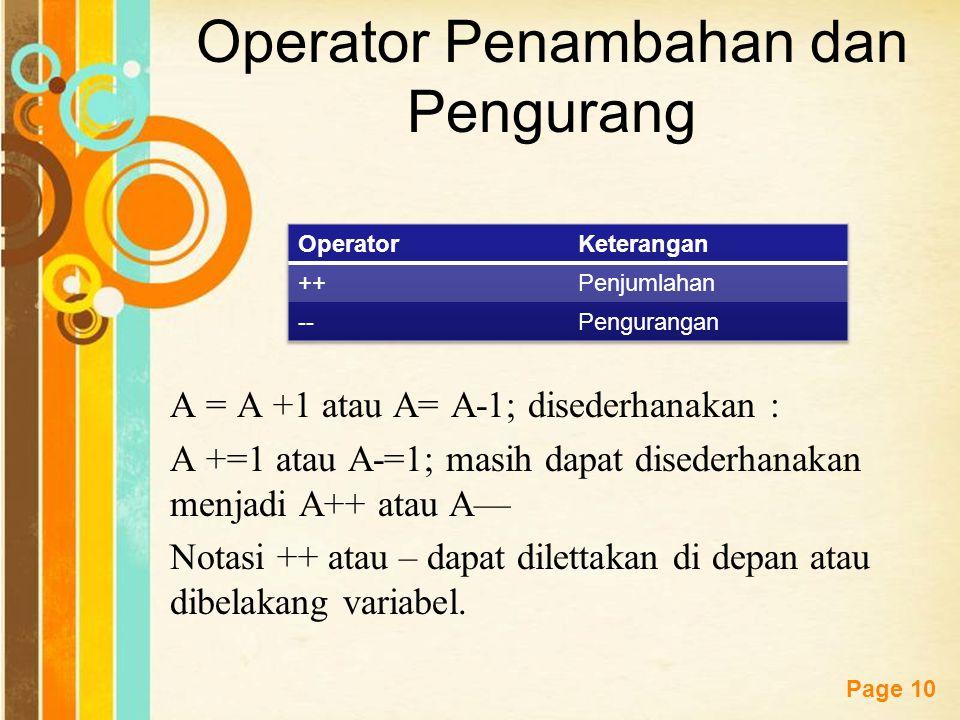 Free Powerpoint Templates Page 9 Tabel Operator Pemberi Nilai Aritmatika