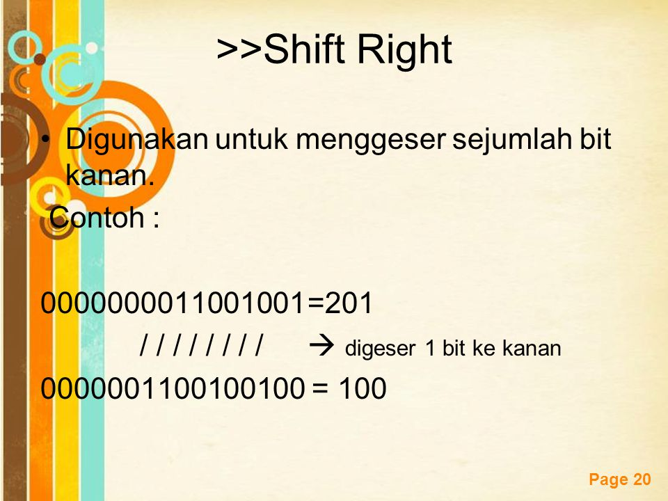 Free Powerpoint Templates Page 19 <<Shift Left Digunakan untuk menggeser sejumlah bit ke kiri. Contoh : 0000000011001001=201 / / / / / / / /  digeser